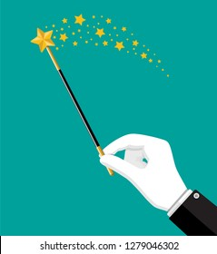 Illusionist magical stick with sparkle. Miracle wizard wand tool rod in hand. Circus, magical show, comedy. Vector illustration in flat style