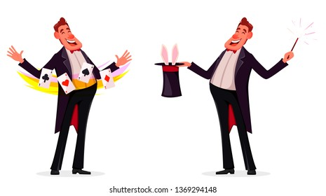 Illusionist shows magical tricks with playing cards and with magic wand and cylinder, set of two poses. Magician cartoon character. Vector illustration.