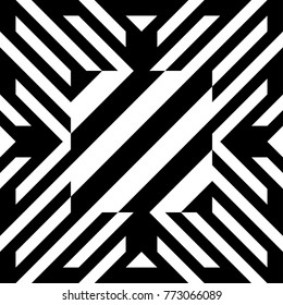 Illusive tile with black white striped diagonal lines and abstract shape in center. Figurative element, geometric pattern in op art style. Vector background, texture with optical illusion effect.