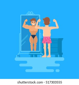Illusory superiority. Vector illustration of a man standing at the mirror. A bodybuilder is reflected in the mirror. The concept of how people overestimate themselves. Not a sports guy in shorts.