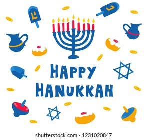 illusration of jewish holiday Hanukkah with Cartoon flat atributes: menorah (traditional candelabra), candles, donuts, jar and dreidels.