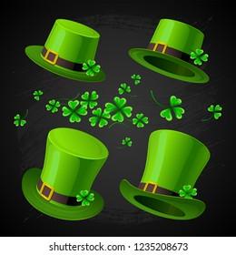 Illusrtation - Saint Patrick's day. Leprechaun's hat and Clover design elements on black hand drawn background.