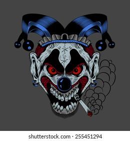 Illustartion of cartoon scary clown with cigarette.