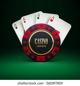 Illustartion of casino chip with place for text realistic theme