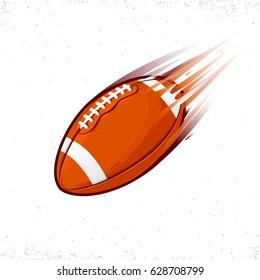 Illustation of American football flying ball.