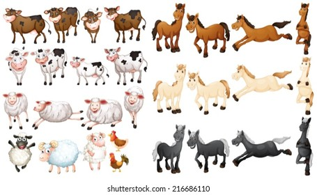 Illustraion of many type of farm animals