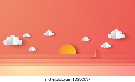 Illustraion of sea view and sunset in the evening with a floating sailing boat in the sea. Beautiful sunset seascape. paper cut and craft style. vector, illustration.