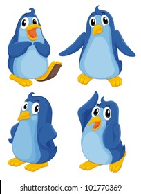 Illustraiton of blue penguins on white