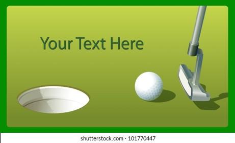 Illustraiton of golf putter and ball near hole