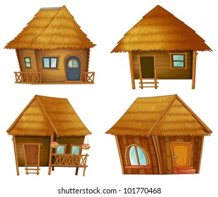 Illustraiton on huts on white background
