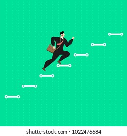 Illustrate concept the businessman run step up on stair like a graph to succes. Vector flat design.