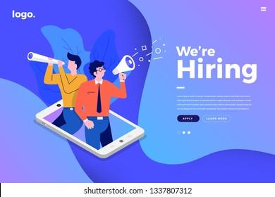 Illustrate design concept The finding employee. HR job seeking. Website mockup design templkate. Vector illustrate.