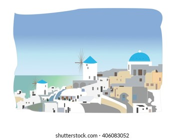illustrate desing white-blue Santorini - view of caldera with domes