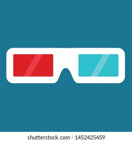 A illustrated 3d glasses for the cinema