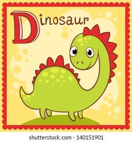 Illustrated alphabet letter D and dinosaur.