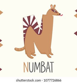Illustrated Alphabet Letter N And Numbat