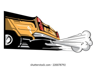 illustrated back of the old limousine with the smoke coming out of it. old day car. golden paint job.