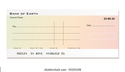 Illustrated bank cheque with room for your own details