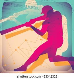 Illustrated baseball poster. Vector illustration.