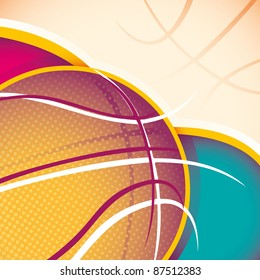 Illustrated basketball banner. Vector illustration.