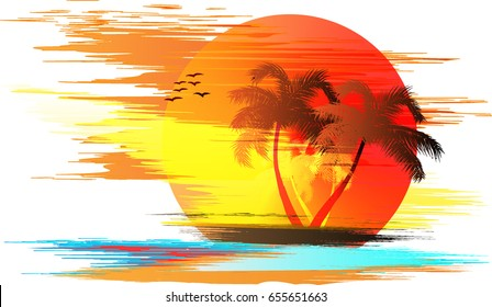 Illustrated beautiful beach in the morning.