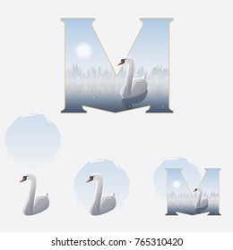 Illustrated capital letter M in winter theme with white swan floating on a misty lake