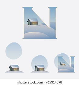 Illustrated capital letter N in winter theme with wooden cabin covered in snow