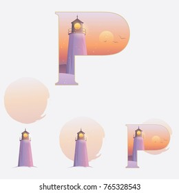 Illustrated capital letter P in winter theme with lighthouse on a red sunset