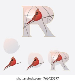 Illustrated capital letter R in winter theme with red cardinal bird standing on a branch