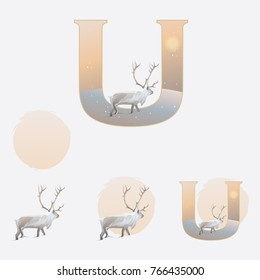 Illustrated capital letter U in winter theme with reindeer climbing on a snowy hill