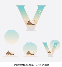 Illustrated capital letter V in winter theme with snowy wooden cabin on a clear skies day