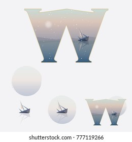 Illustrated capital letter W in winter theme with old ship on a misty lake while its snowing