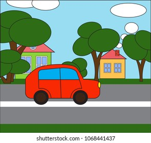 Illustrated. The car is going down the street.