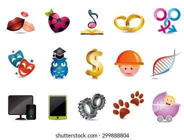 Illustrated cartoon icons