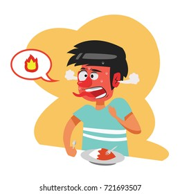 Illustrated cartoon of man who eat spicy food and get spicy feeling