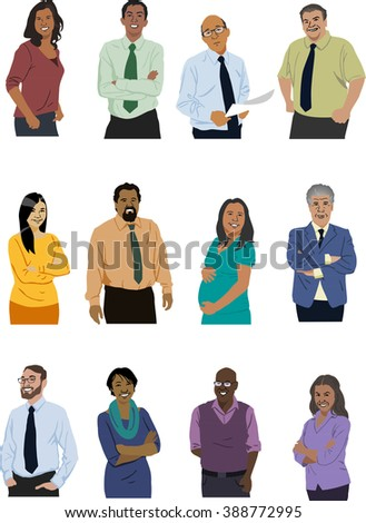 Illustrated Cast Diverse Office Workers Stock Vector ...  Illustrated Cas...