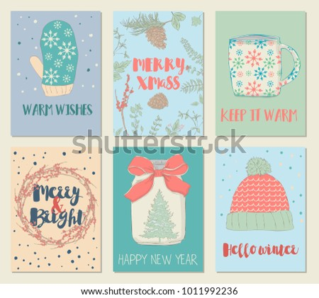 Illustrated christmas greeting cards set hand drawn stock vector illustrated christmas greeting cards sethand drawn style of posters for holiday invitation children m4hsunfo