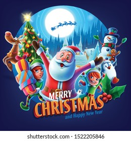 illustrated circle with Christmas greetings and characters
