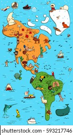 Illustrated Colorful Map of North and South America. With funny and typical objects, people, activities, animals, plants, history etc. Illustration in eps10 vector.