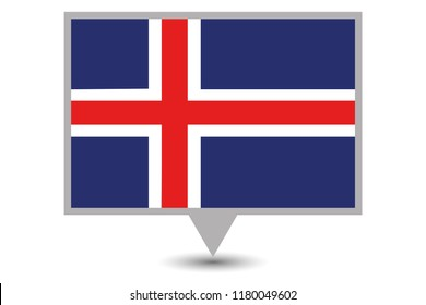 An Illustrated Country Flag of  Iceland