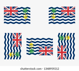 Illustrated Country Flag Reflected and Rotated of   British Indian Ocean Territory