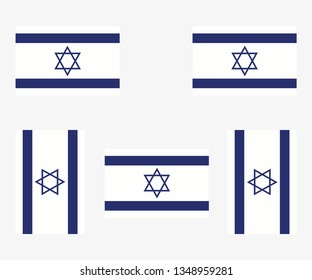 Illustrated Country Flag Reflected and Rotated of   Israel