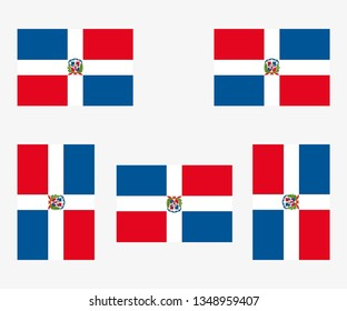 Illustrated Country Flag Reflected and Rotated of   Dominican Republic
