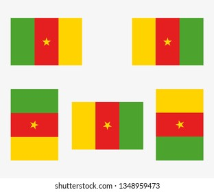 Illustrated Country Flag Reflected and Rotated of   Cameroon