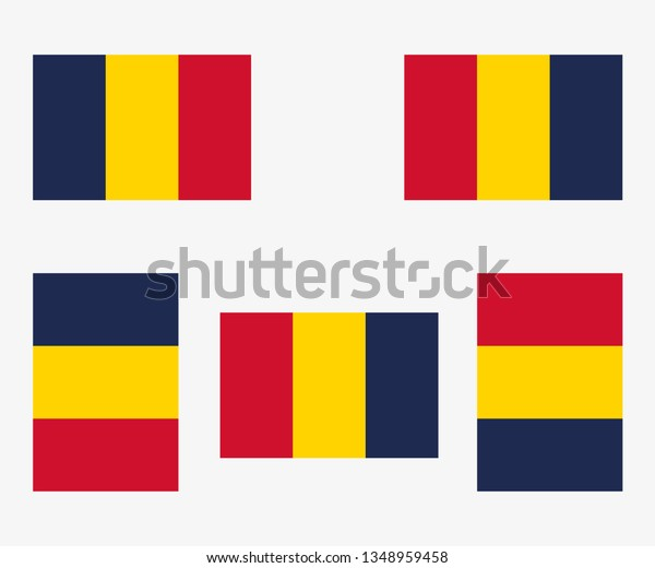 Illustrated Country Flag Reflected and Rotated of   Chad