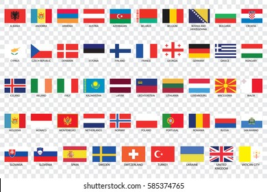 An Illustrated Country Flags of Europe