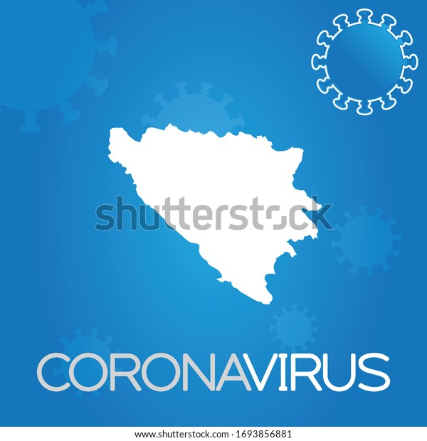 Illustrated Country Shape of Bosnia