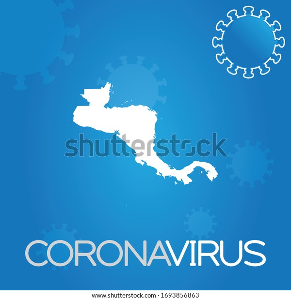 Illustrated Country Shape of Central America