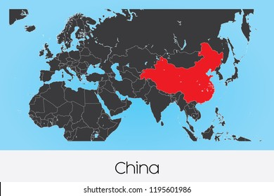 An Illustrated Country Shape of China