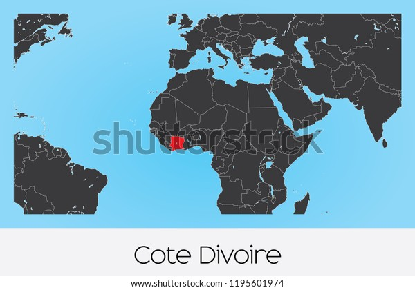 An Illustrated Country Shape of Cote Divoire